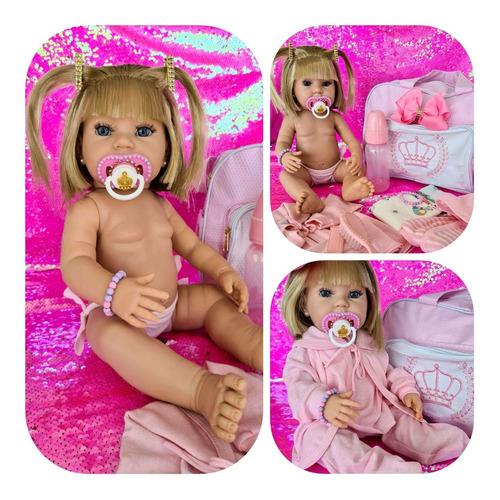 Boneca Tipo Reborn Bebê Realista+ Kit Acessórios 14 Itens