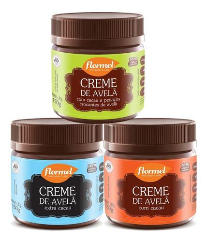 3x Creme De Avelã Zero Açúcar Flormel