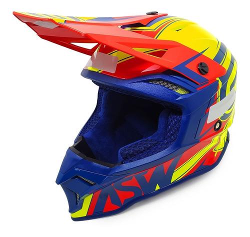 Capacete Asw Fusion 2.0 Blade Amarelo/vermelho/azul