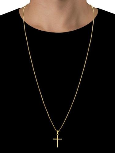 Cordão Corrente Fino Banhado Ouro 18k + Pingente Cruz Palito