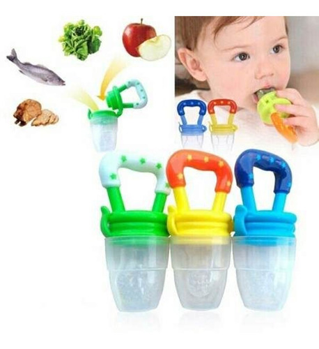 2 Chupetas Alimentadora Bico Silicone Mordedor Bebê Frutas