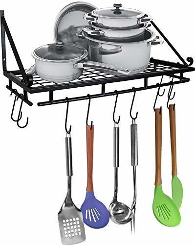 Wall Organizer Shelf For Pots And Pans 10 Hook