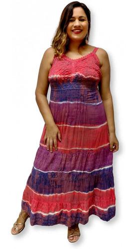 Vestido Feminino Longo Indiano Alça Algodão Lesi Tie Dye 968