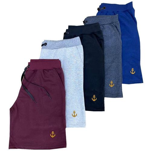 Kit 5 Shorts Infantil Moletom Liso Com Amarração Juvenil Top