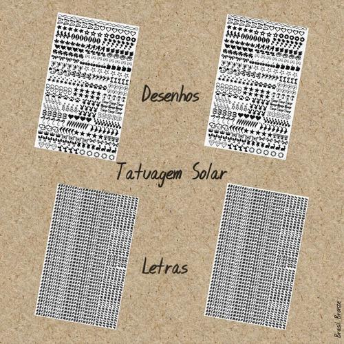 02 Cartelas Tatuagem Solar + 02 Cartelas De Letras