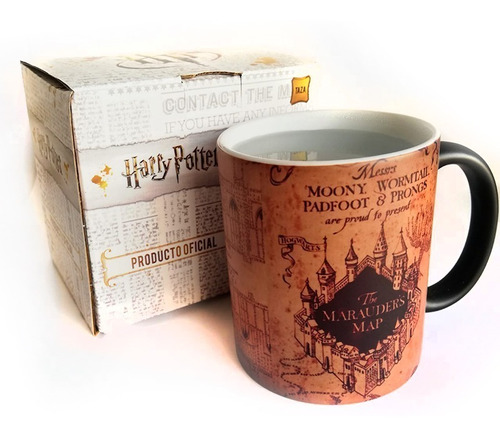 Taza Mágica Harry Potter Mapa Del Merodeador En Caja Oficial