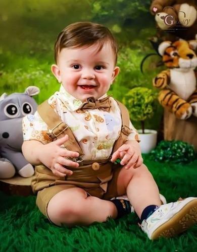 Roupa Safari Conjunto Infantil Festa Safari  Bege