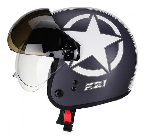 Capacete Moto Peels F 21 Us Army Preto Chumbo Fosco Branco