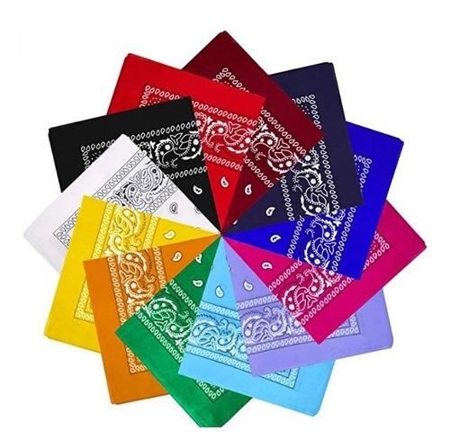 Pañoletas Bandanas Arabescos Estampadas Colores 45 Cmx 45 Cm