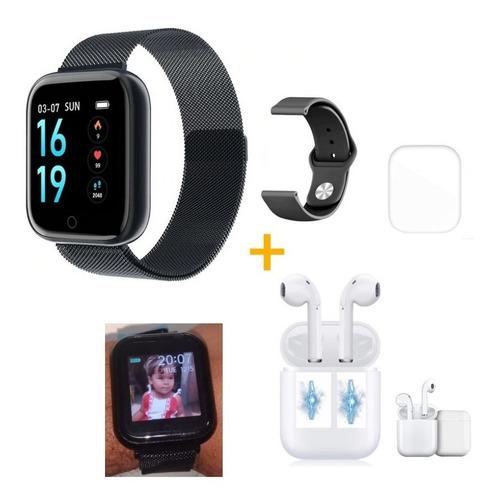 Relógio Smart Watch T80 Preto + 2 Pulseiras + Fone +película