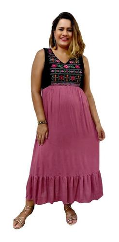 Vestido Longo Indiano Feminino Regata Bordado No Busto 785