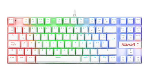 Teclado Gamer Redragon Kumara K552 Qwerty Cherry Mx Blue Inglés Us De Color  Blanco Con Luz Rgb