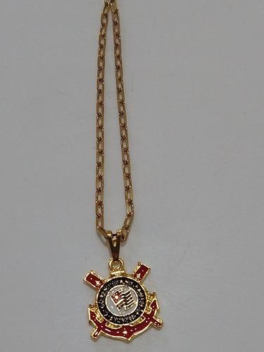 Corrente C/ Pingente Do Corinthians Aço Inoxidável Dourada