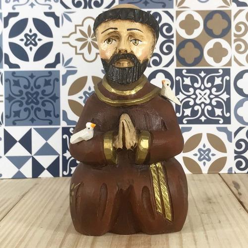 Imagem São Francisco Entalhado Em Madeira  Escultura Rústico