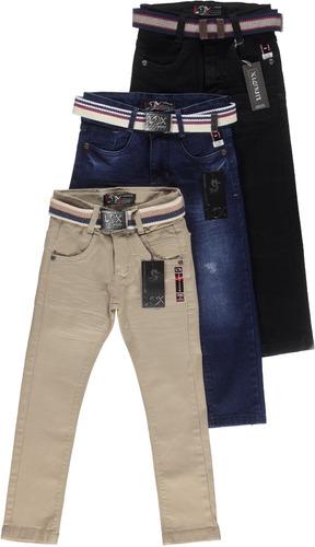 Kit 3 Calça Jeans Masculina Infantil Meninos 1 Ao 16 Anos