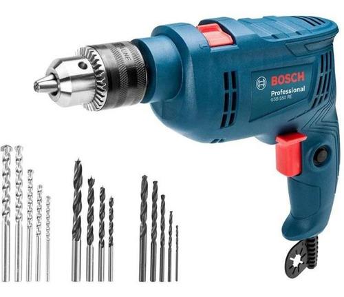 Furadeira Bosch Gsb 550 Re Std De Impacto 127v 550w Kit