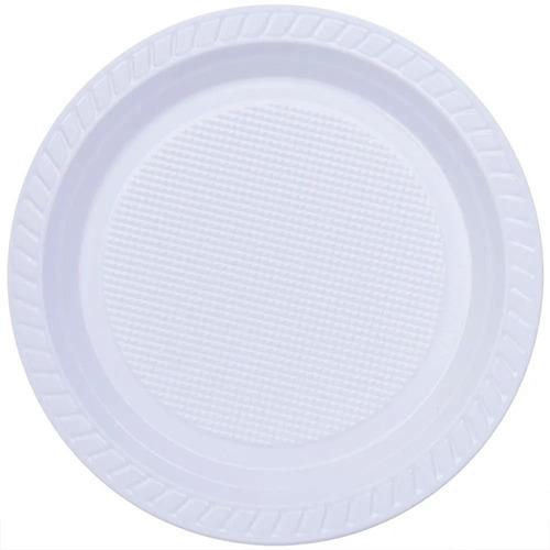 100 Prato Refeição Descartável 21cm Plástico Branco Pratos