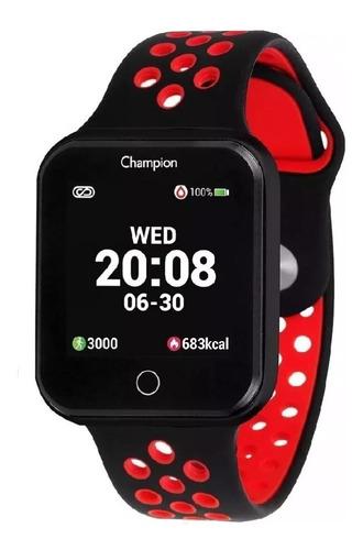 Relógio Champion Smartwatch Bluetooth 4.0 Preto/vermelho
