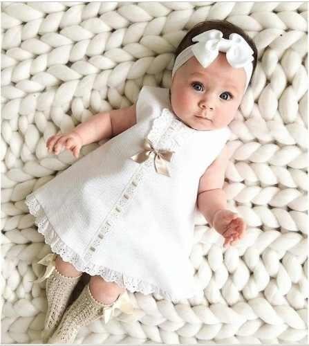Roupas De Bebês Meninas Vestido Branco Moda Infantil Kids