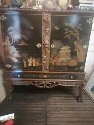 Antiguo Mueble Oriental, Tallado Hermoso, Único