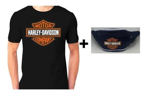 Camiseta Harley Davidson Pochete Bolsa Harley C/ziper Moto