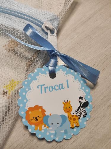 Saquinho Maternidade C/ 6 Unidades + Tag Safari Azul Bebê