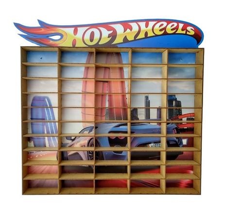 Estante Tipo Hot Wheels Adesivado Para 50 Carrinho Mdf