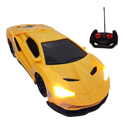 Carrinho Controle Remoto Grande Ferrari Amarela  - Farol Led