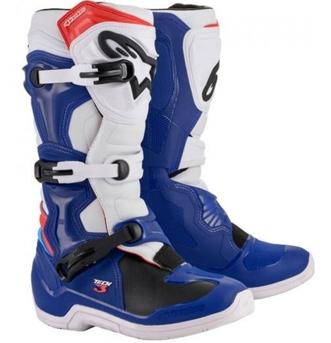 Bota Alpinestars Tech 3 Azul/branca/verm Motocross Velocross