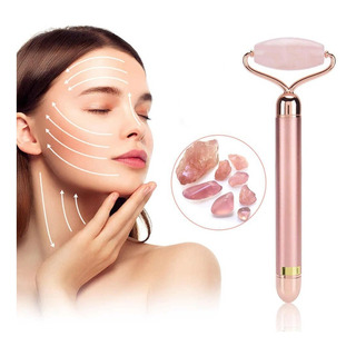 Rodillo Facial Vibracion Relajacion Jade Cuarzo Rosa