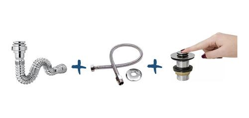 Válvula Click + Sifão Sanfonado + Engate Flex. Trançado 40cm