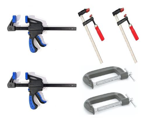 Prensas Carpinteria Sargentos Ajustables Y De Mano Set X 6
