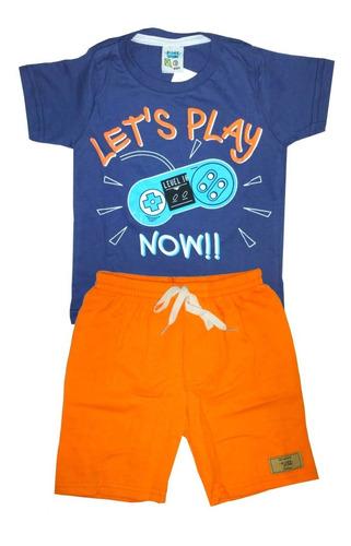 Kit 10 Peças Roupa Infantil Menino C/ 5 Bermuda+ 5 Camisetas