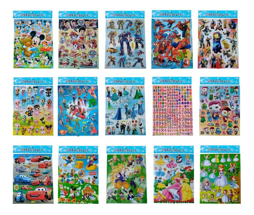 50 Planchas De Stickers Motivos Infantiles - Diverti Toys