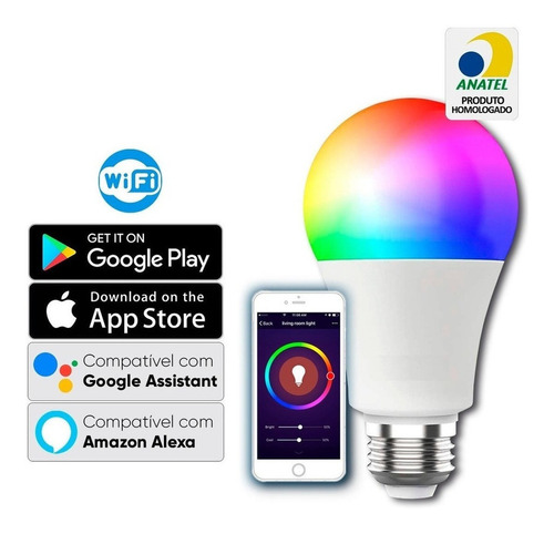 Lampada Led Wi-fi Inteligente 9w Rgb Google Assistent, Alexa