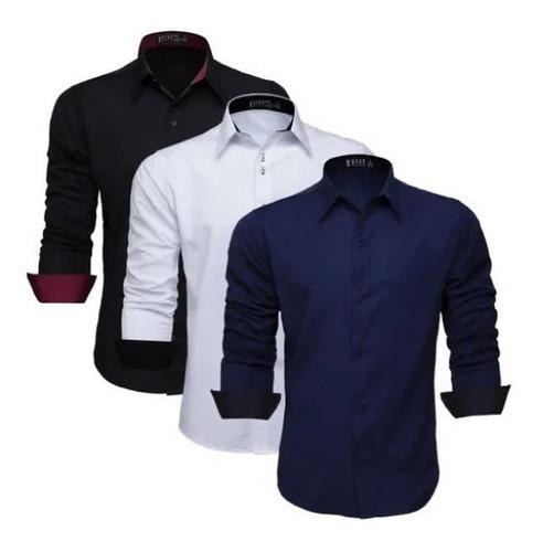 Kit 3 Camisa Manga Longa Masculina Camiseta Social Slim