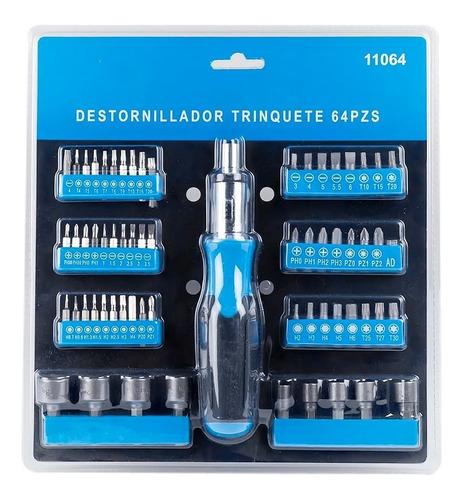 Kit Set Destornillador Trinquete Y Rache 64 Piezas