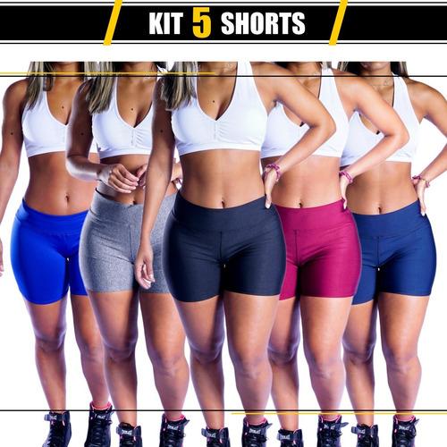 Kit 5 Short Feminino Suplex Academia Fitness Curto Premium