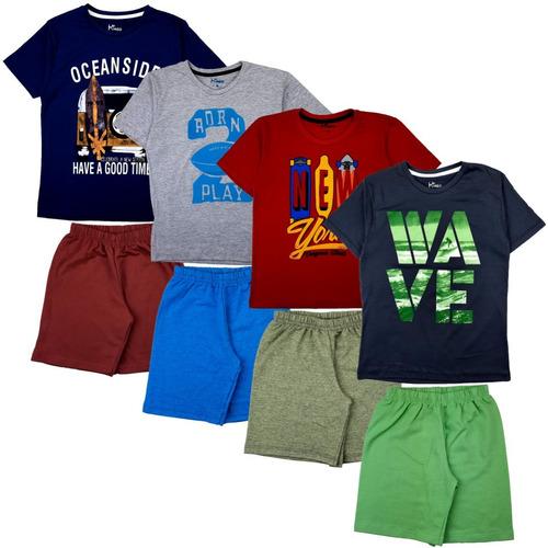 Kit 8 Roupas Infantil 10/12/14 Menino 4 Camisetas + 4 Shorts