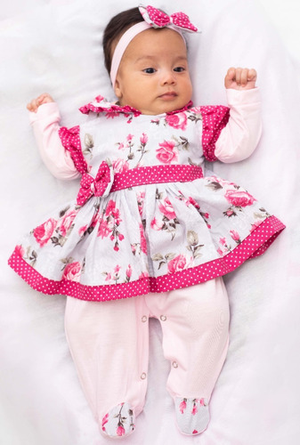 Saida De Maternidade Menina 3 Peças Charmosa Rosa