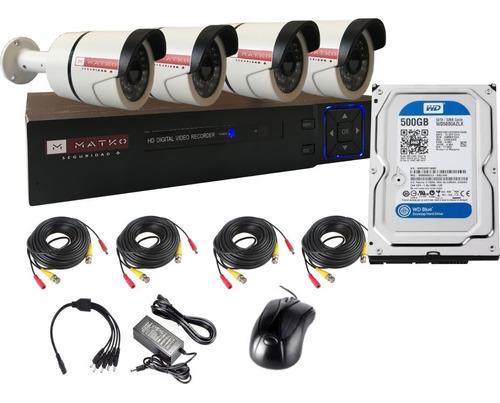 Camara Seguridad Kit 4 Fullhd 8ch Disco 500g Matko Seguridad