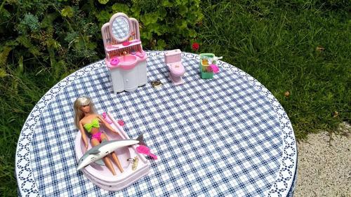 Juego De Baño +  Barbie +delfín Originales! Excelente Estado