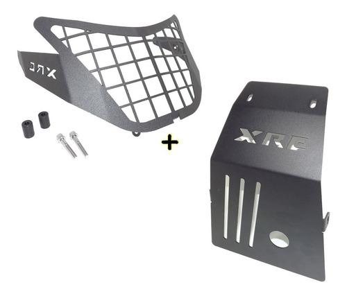 Kit Protetor Carter Motor + Protetor De Farol Xre300 Xre 300