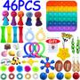 46pcs Pop It Bubble Push Fidget Anti ansiedade Brinquedos