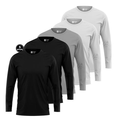 Kit 5 Camisetas Manga Longa Swag - Tecido Premium 30.1 Zaroc