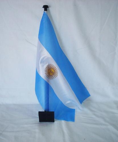 Bandera Argentina De 28x43 Cm Con Soporte Plástico Para Auto