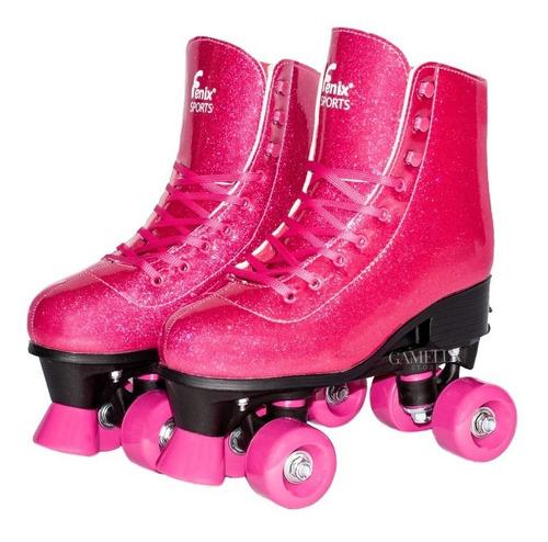 Patins Roller Infantil Adulto Ajustável 4 Rodas Rosa Glitter
