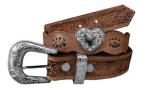 Cinto Country Feminino Coração Com Strass Cowgirl