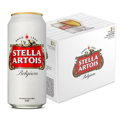Cerveza Stella Artois European Pale Lager Rubia Lata 473ml 6 U