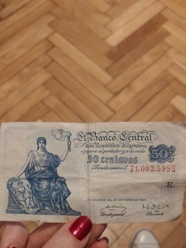 Billete 50 Centavos República Argentina Año 1947